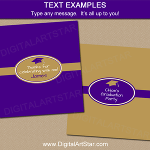 Purple Gold Graduation Candy Bar Label Editable Template