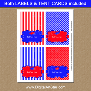 Red and Blue Graduation Tent Cards