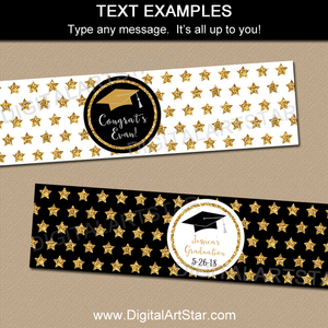 Black and Gold Water Bottle Labels with Editable Text