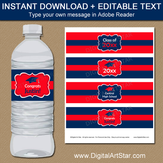 Editable Graduation Water Bottle Labels Red and Navy