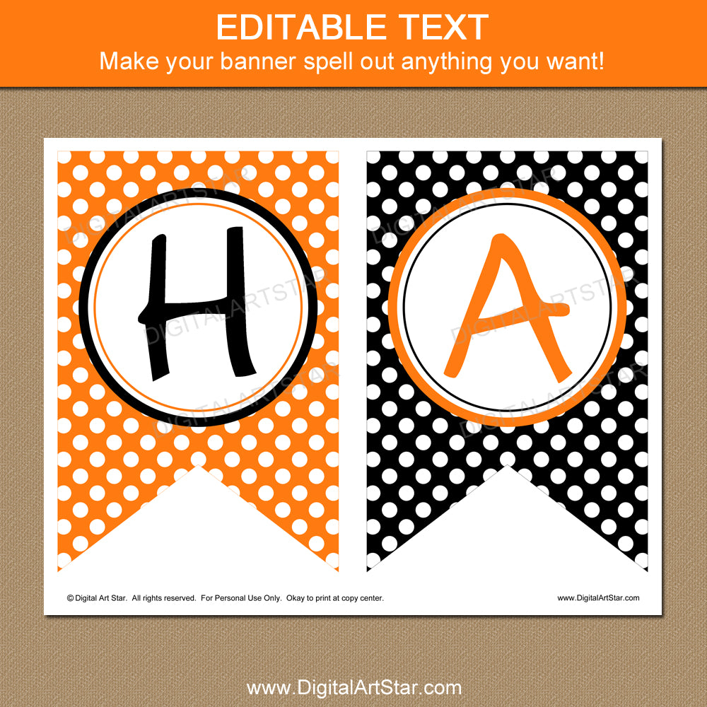 Orange Black White Polka Dot Banner Template