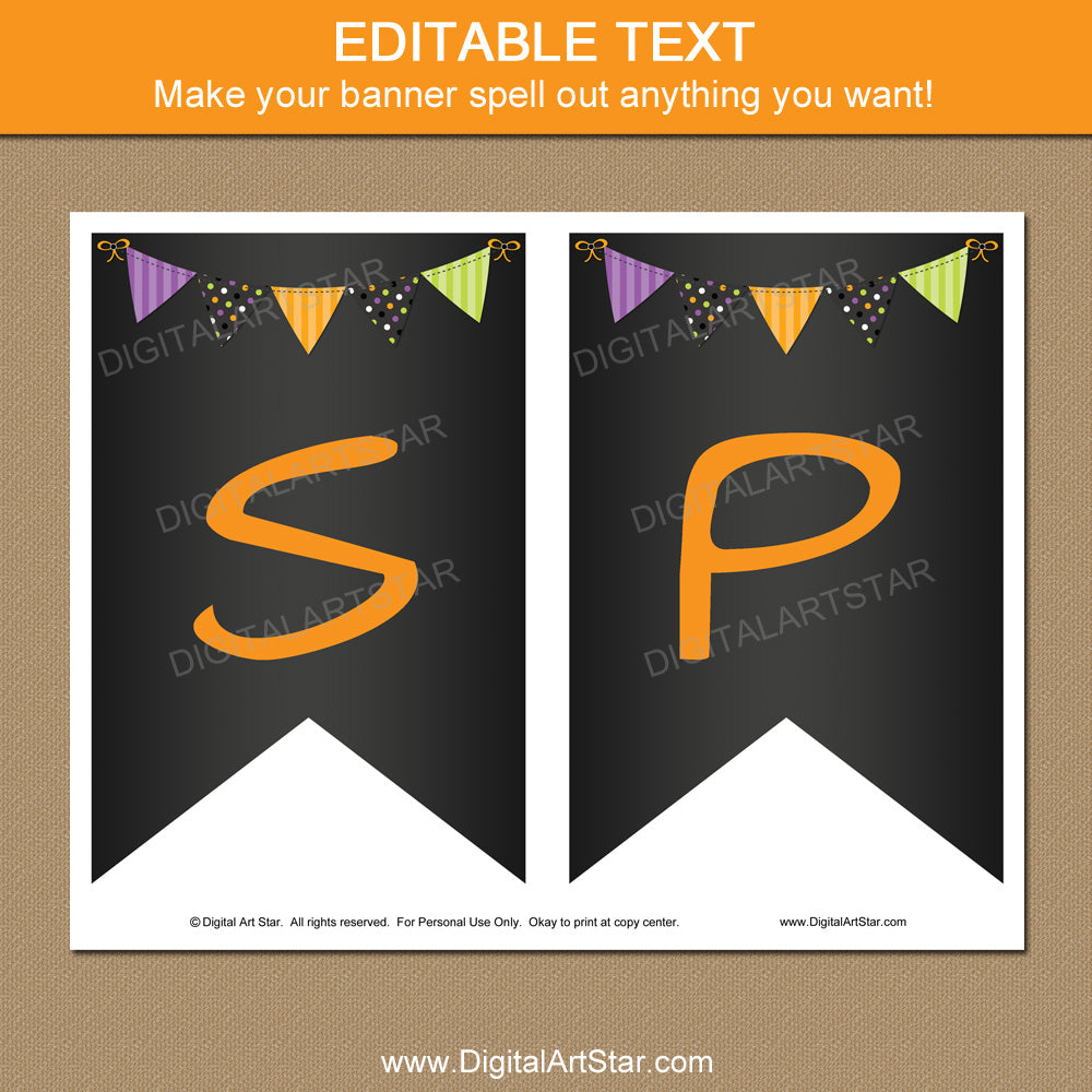 Editable Chalkboard Halloween Printables
