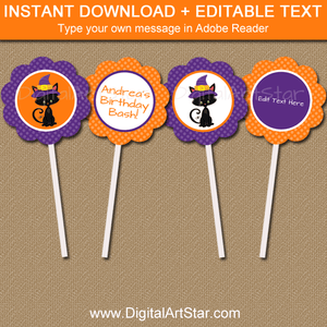 Halloween Birthday Cupcake Picks Editable Template