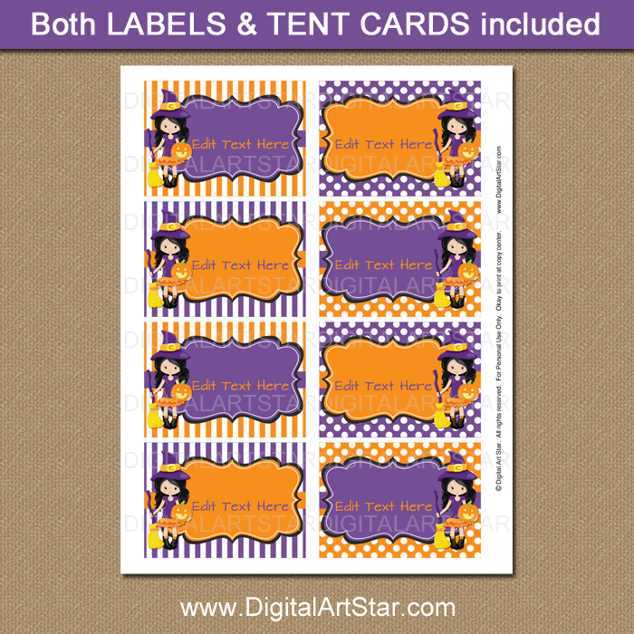 halloween candy buffet labels with witch