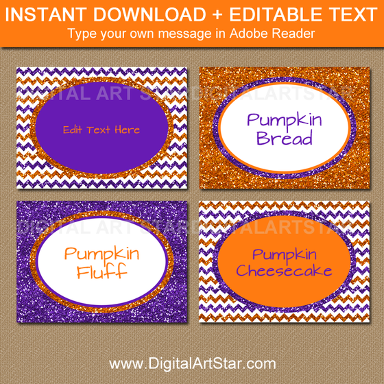 Printable Halloween Labels - Orange and Purple Glitter Chevron