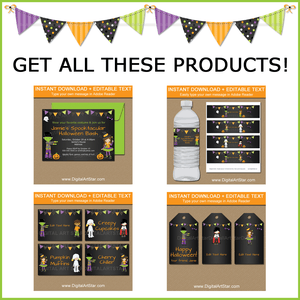 Chalkboard Halloween Party Invitation, Water Labels, Food Labels, Favor Tags