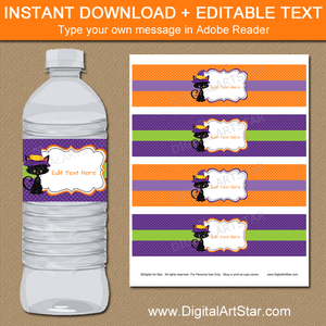 Purple and Orange Halloween Water Bottle Labels Editable Template