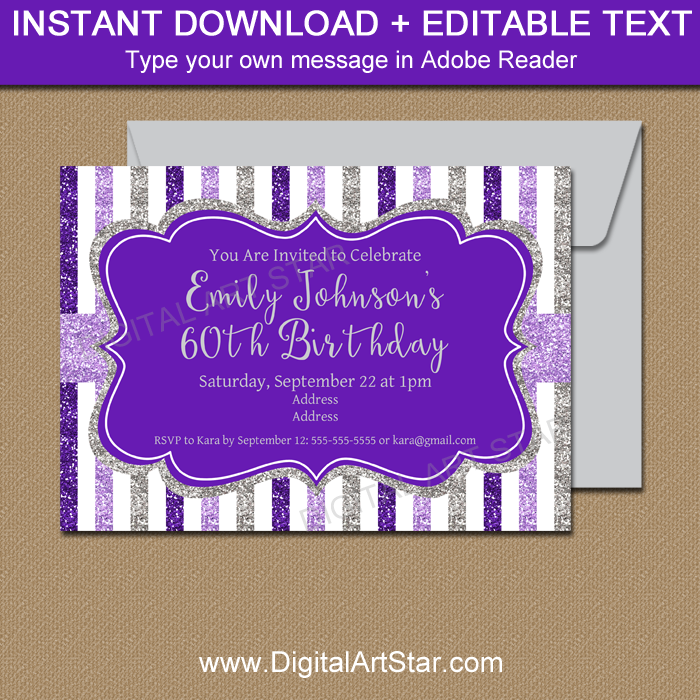 Editable Invitation for 60th Birthday or Any Age