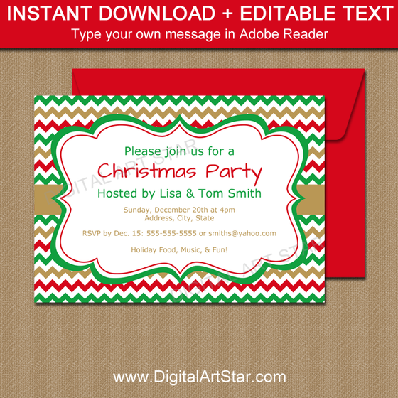 Christmas Invitation Template - Red, Green, Gold Chevron