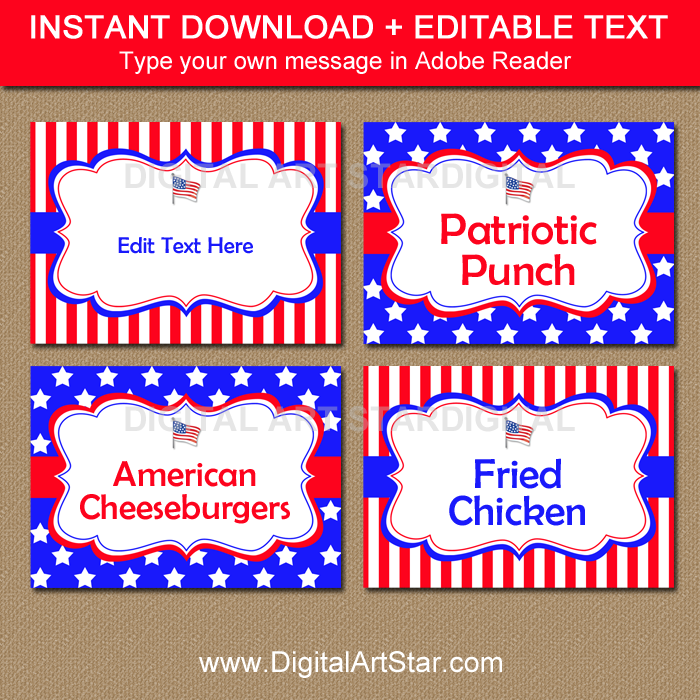 Editable Labels for 4th of July Party
