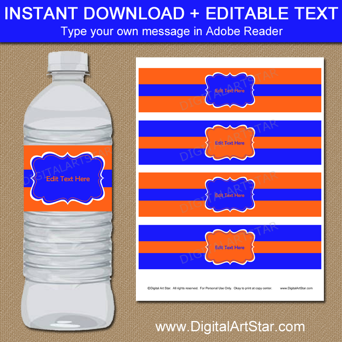Orange and Blue Water Bottle Labels PDF