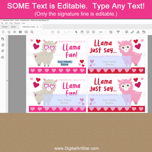 Editable Llama Valentines Day Card Template