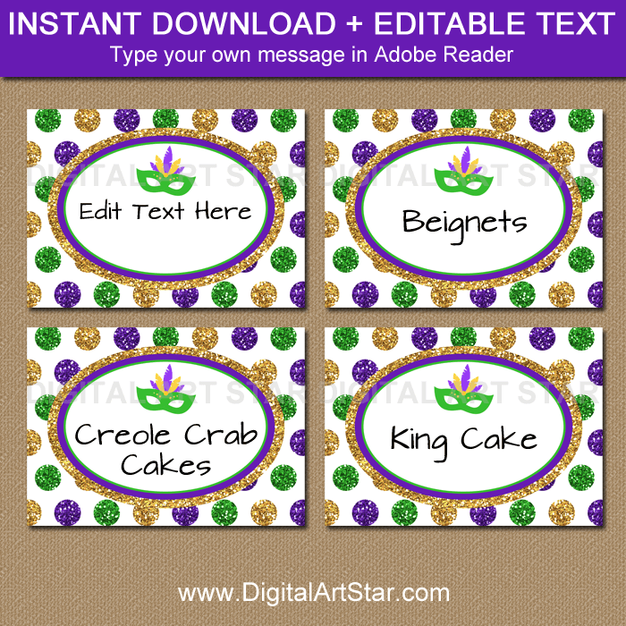 Glitter Mardi Gras Candy Buffet Labels