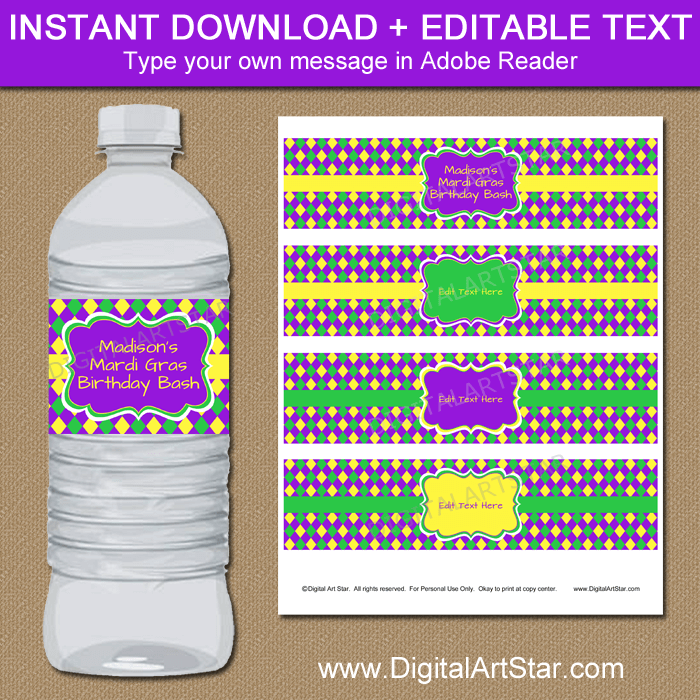 Mardi Gras Birthday Water Bottle Labels