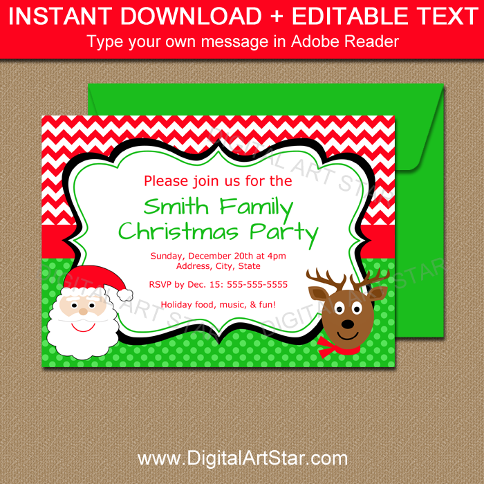 Downloadable Christmas Invitations with Editable Text