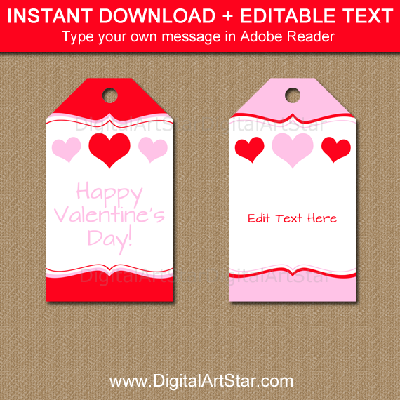 Pink and Red Heart Tags for Valentine's Day Party
