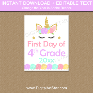 Unicorn First Day of Fourth Grade Printable Sign