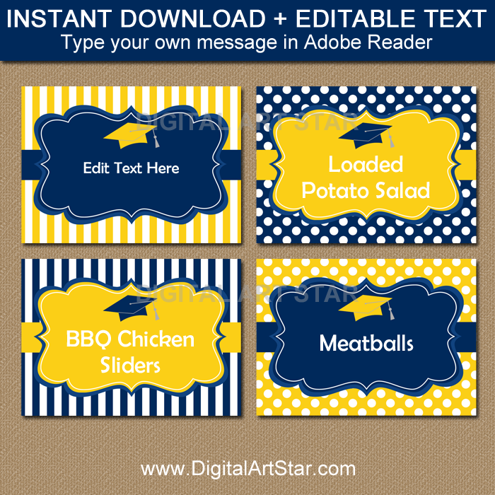 Navy and Yellow Graduation Food Labels