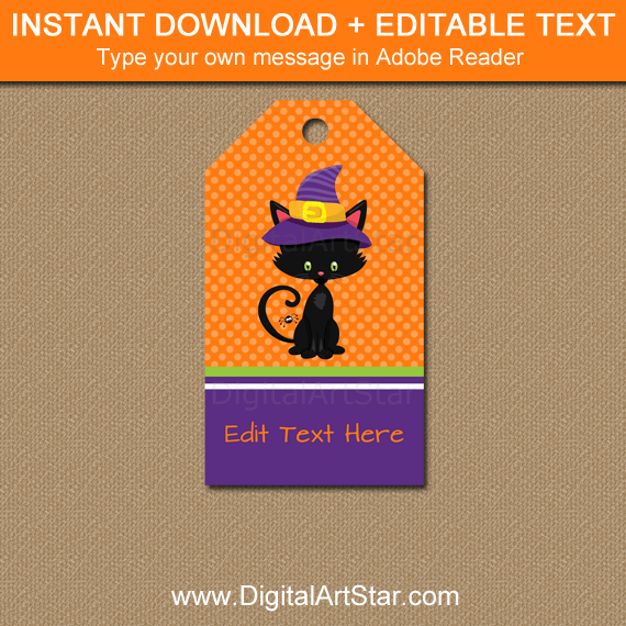 Cute Halloween Party Favor Tags Template