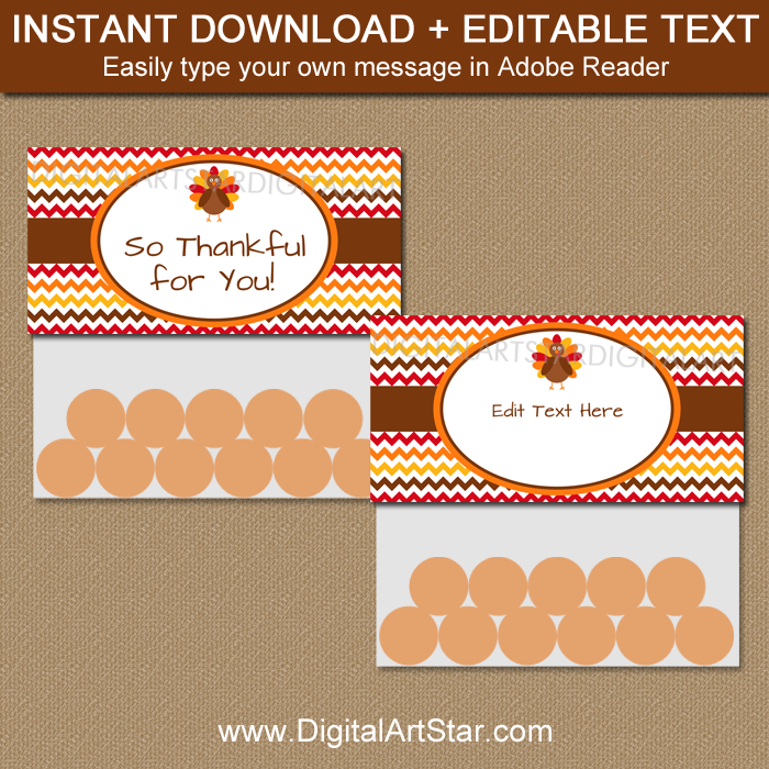 Editable Thanksgiving Bag Toppers with Multi Chevron
