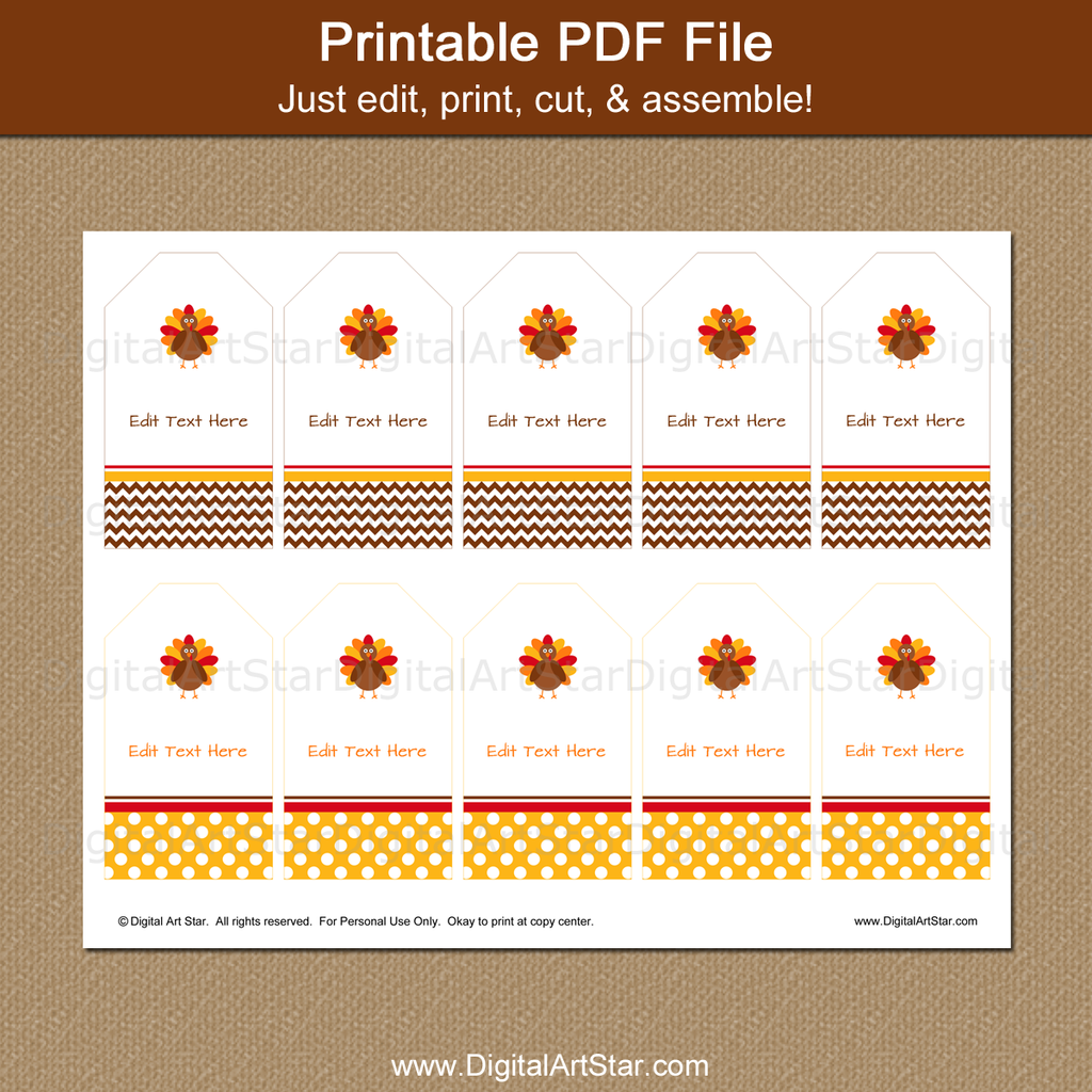 Thanksgiving Turkey Tags - Edit, Print, Cut!