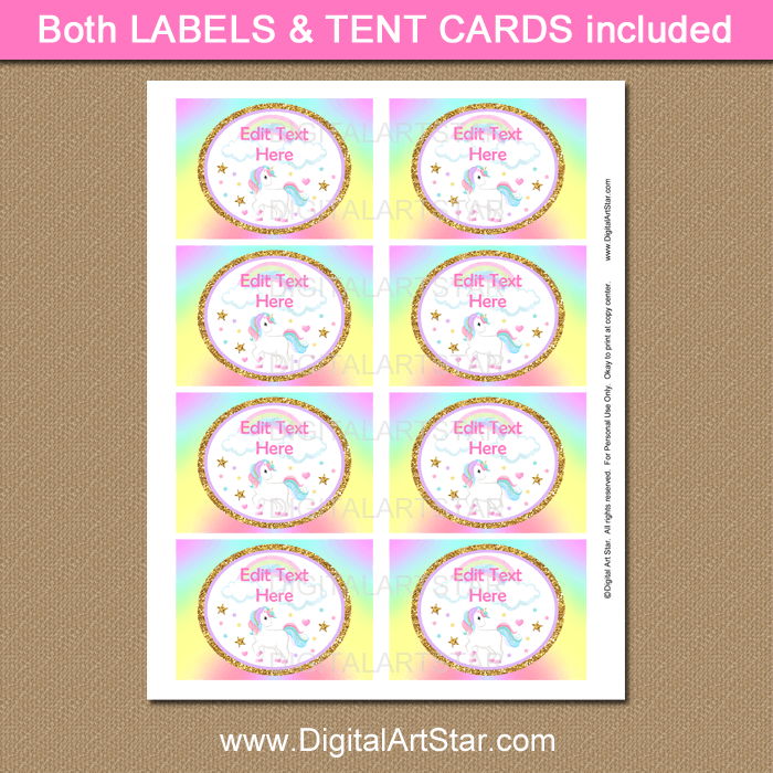 Rainbow Unicorn Party Supplies Labels Printable PDF
