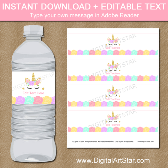 Unicorn Party Water Bottle Labels Editable Template