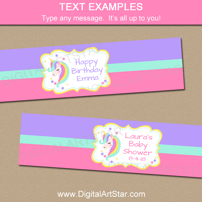 Editable Unicorn Water Bottle Label Template