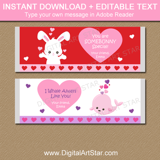 Cute Valentine Candy Bar Wrappers Template - Bunny and Whale