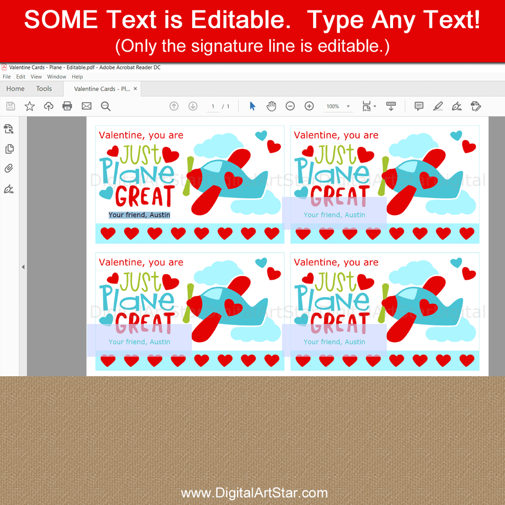 Printable AIRPLANE Valentine Cards For Classmates