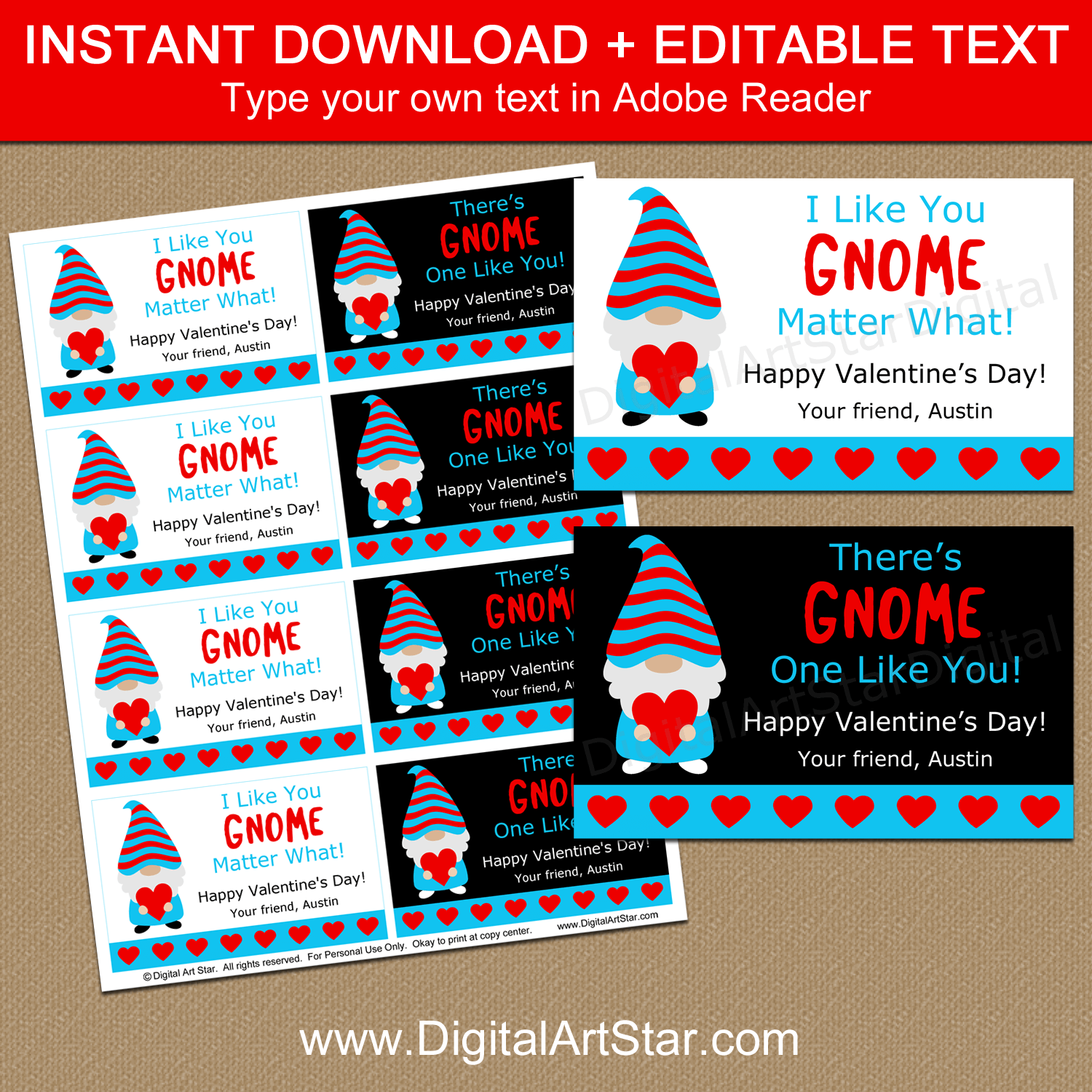 Gnome Valentine Printable Instant Download