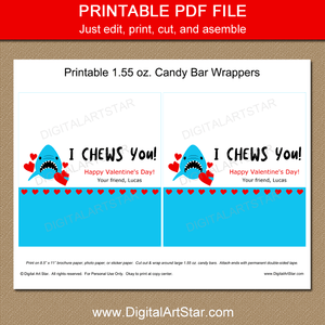 Shark Printable Valentine Candy Bar Wrapper Party Favors for Kids