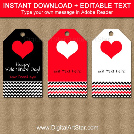 Printable Valentine Tags with Editable Text