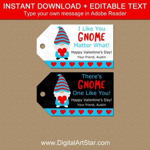 Gnome Valentines Day Gift Tags Instant Download Template
