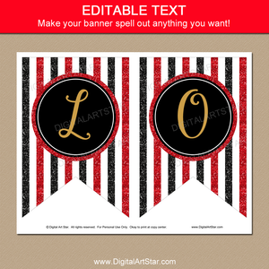 Editable Banner, Red, Black, Gold Glitter Banner