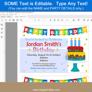 Editable Birthday Invitation Template with Birthday Cake