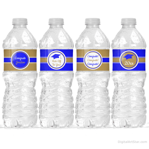 Elegant Graduation Water Bottle Labels Decorations Royal Blue and Gold
