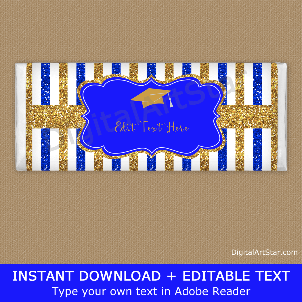 Elegant Royal Blue and Gold Graduation Candy Bar Wrappers Template