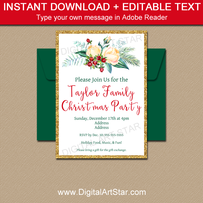 Elegant Christmas Party Invitations