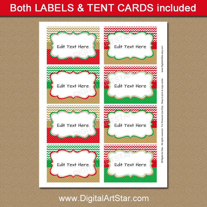 Printable Chevron Christmas Place Cards