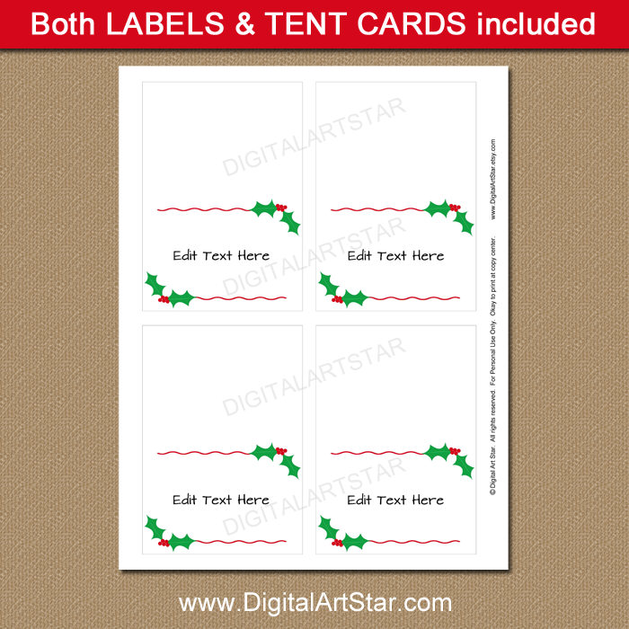 christmas placecard template