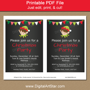 Chalkboard Christmas Party Invitation with Elf