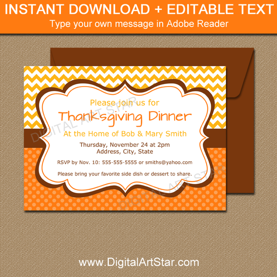 Fall Invitation Template: Yellow, Orange, Brown