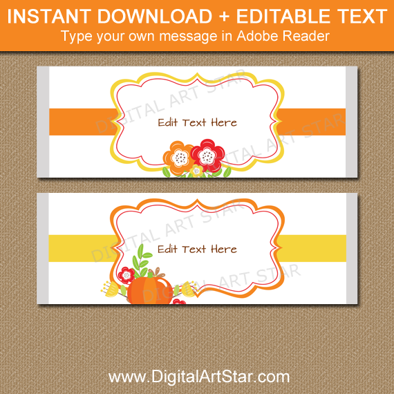 Printable Fall Candy Bar Wrapper Template