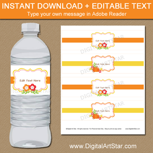 Fall Wedding Water Bottle Label Template