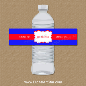 Personalized Royal Blue and Red Water Bottle Stickers