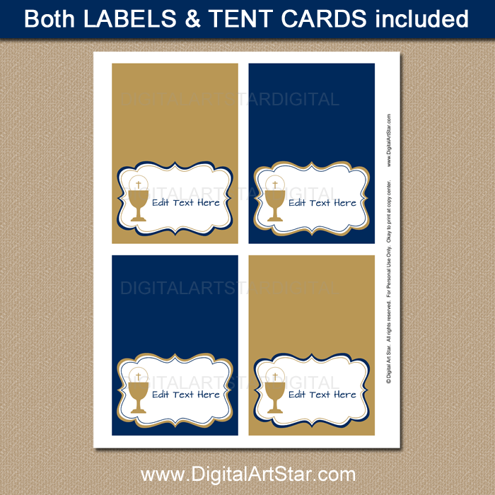First Communion Place Cards Template in Navy and Gold