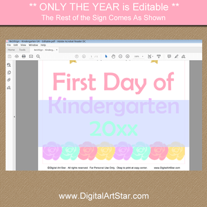 Editable Unicorn Kindergarten First Day of School Sign