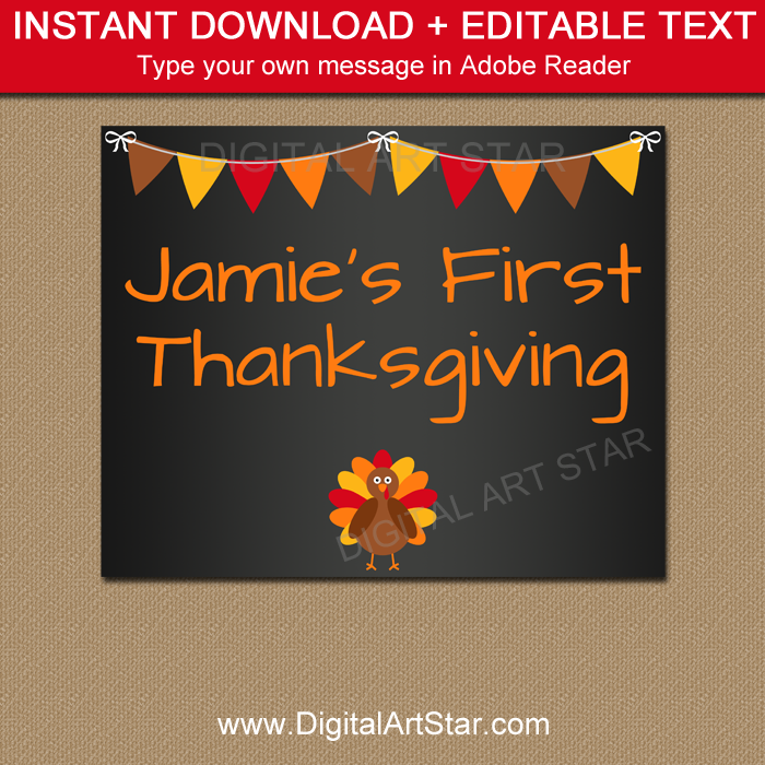 First Thanksgiving Sign Template