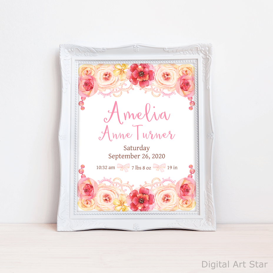 Floral Baby Girl Birth Announcement Sign Personalized